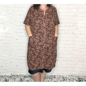 Vintage Brown Paisley House Dress Coat Robe Snaps